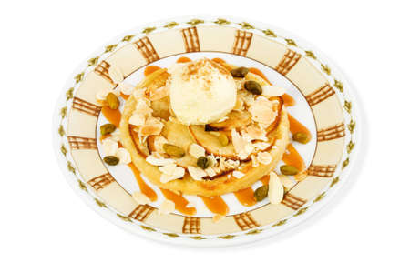 Dessert with ice-cream and nuts photo