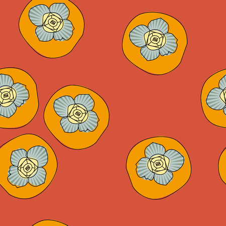 Exquisite vector seamless pattern with persimmon. Can be used for fabric, textile, wrapping and packaging.