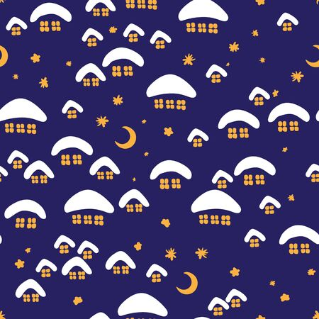 Winter seamless pattern with night village.