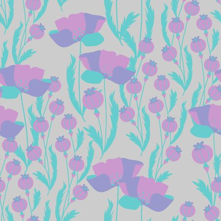 Vector seamless pattern with poppy flowers and capsules. Can be used for fabric, textile, wrapping, packaging and web design.