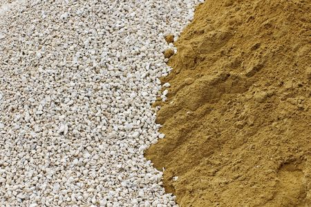 pile of crushed stone and sand Stock Photo