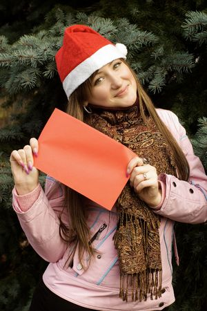 Christmas girl holding red card Stock Photo - 3944544