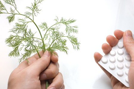 Male hands holding fennel and pack of white pills Stock Photo