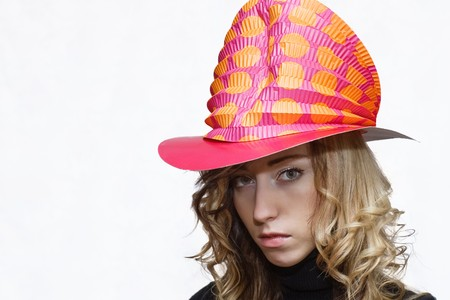 trumpery: Blonde sad girl with clown party hat