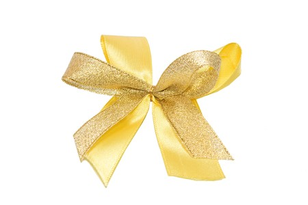 Gold ribbon bow isolated on white