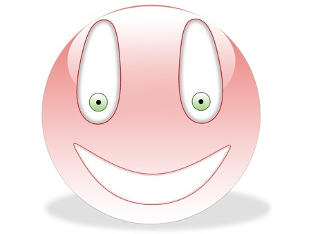 Pink smiley with green eyes and shadow isolated on white Stock Photo - 4314276