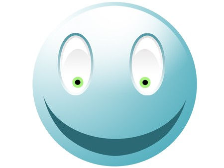 Cyan smiley with green eyes isolated on white Stock Photo - 4314289