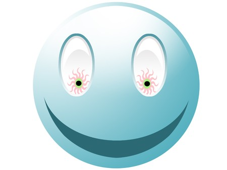 icq: Crazy cyan smiley with eyes isolated on white Stock Photo