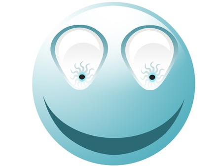 Crazy cyan smiley with bulb eyes isolated on white Stock Photo - 4314283