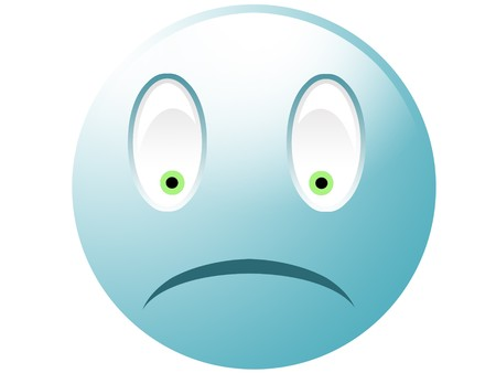icq: Sad cyan smiley with green eyes isolated on white Stock Photo