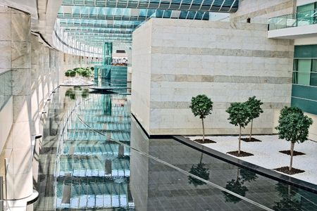 pool halls: Esenboga airport interior, Ankara city Stock Photo