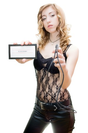 Out of focus blonde with slavetime card and whip isolated on white Stock Photo - 4542624