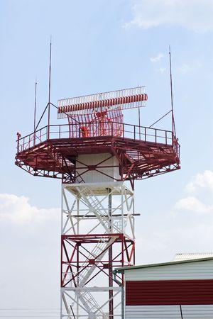 Radar station against blue sky Stock Photo