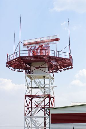 Radar station against blue sky Stock Photo