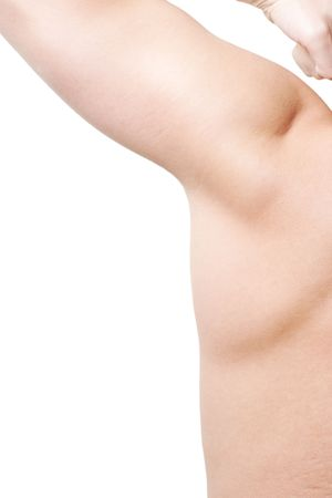Male armpit viewed from the back isolated on white with copy space and selective focus Stock Photo
