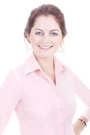 Smiling business woman in pink shirt isolated on white with selective focus photo