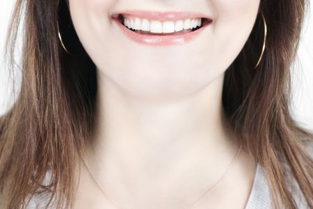 Closeup of smiling woman mouth with great teeth with selective focus Stock Photo - 6069774