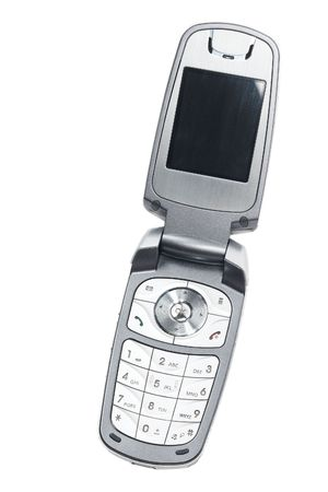 flip: Used silver clamshell cellular mobile telephone on a white background