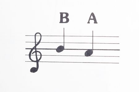 Closeup of music notes b and a on white with treble clef  photo