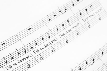 musical notes of French nursery melody Frère Jacques with selective focus