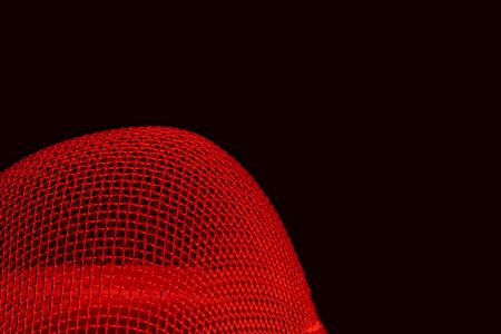 meshed: Abstract red curved spherical metal grid structure isolated on black with selective focus