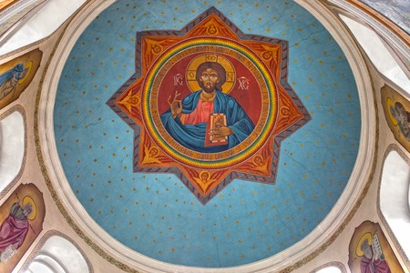 fresco: Religious fresco of Jesus Christ painted on ceiling of orthodox church of Saint Martyr Haralambie in Chisinau city Stock Photo