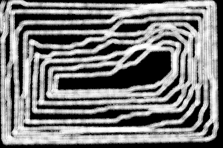 inexplicable: Abstract brushed white maze pattern on black