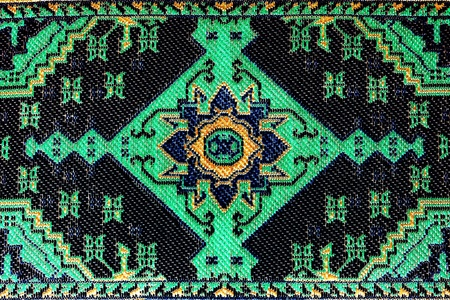 Closeup of stylized seamless green oriental embroidery pattern Stock Photo - 9036511