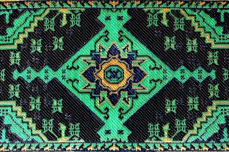 Closeup of stylized seamless green oriental embroidery pattern Stock Photo - 9036511