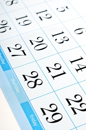 end month: Part of calendar with month end dates with selective focus on Thursday