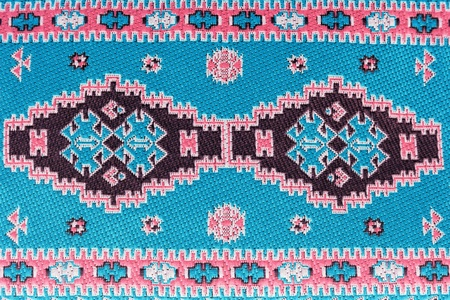 Closeup of seamless blue oriental embroidery pattern Stock Photo - 9036497
