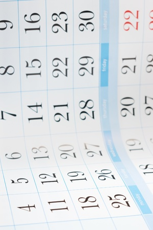 end month: Part of calendar with month end dates with selective focus on Monday Stock Photo