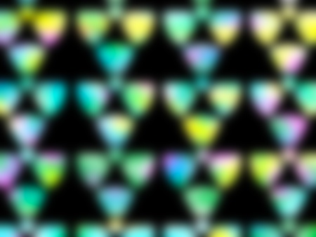 Row of abstract blurred multicolored shapes on black background photo