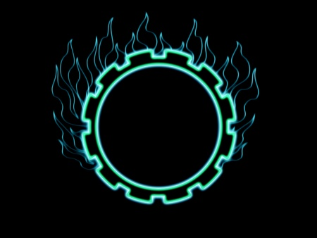 Abstract blue glowing and burning gear wheel against black background Stock Photo - 9161298