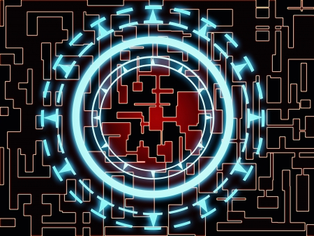 Abstract red circuit patterns on black with cyan glowing gear wheel symbol in the center Stock Photo - 9161316