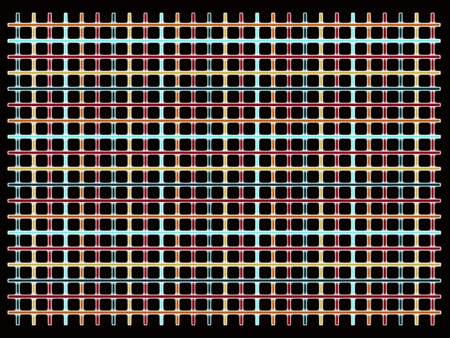 grid of straight multicolored glowing stripes on black background Stock Photo - 9161322
