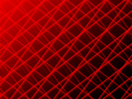 Abstract grid of red intersecting tubes on black background with light gradient photo