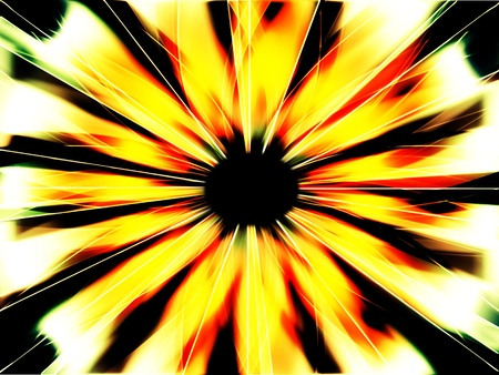 Abstract dark fiery sunburst fractal with black hole in center photo