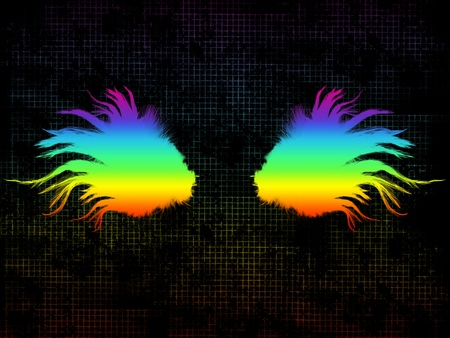 Abstract multicolored feathered wings against dark grungy squared background photo