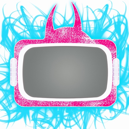 Pink naughty tv set with horns against white background with blue fire flames Stock Photo - 9194189