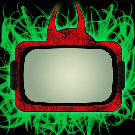 Diavolo rosso grungy tv impostata su sfondo nero con fiamme di fuoco verde Archivio Fotografico