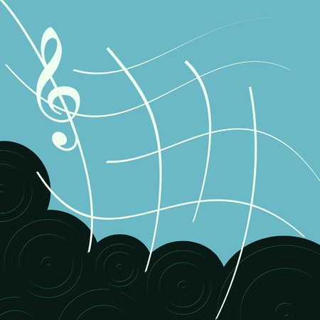 Abstract white treble clef with lines on blue with speakers photo