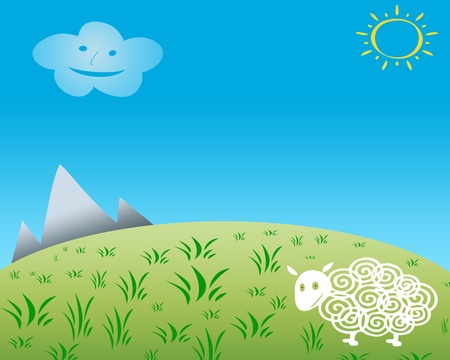 Child drawing of happy sheep on grass field with blue smiling cloud and yellow sun photo