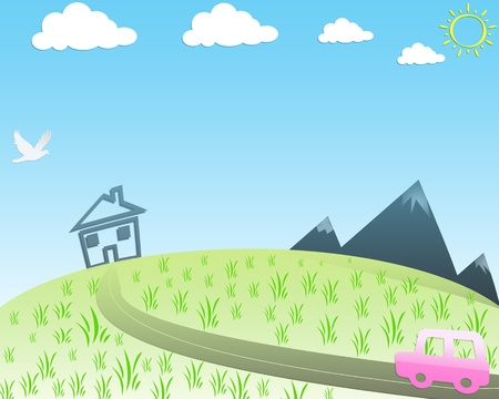 drawing of countryside road with pink car and landscape against blue sky with clouds and sun photo