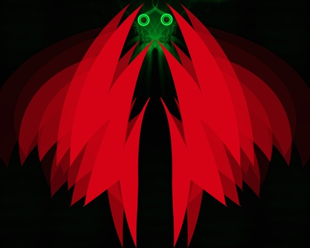 Abstract red monster with wings and green smoky face on black background photo