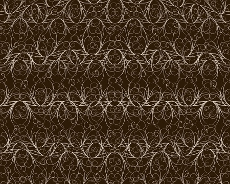 Abstract vintage brown curly flower pattern photo