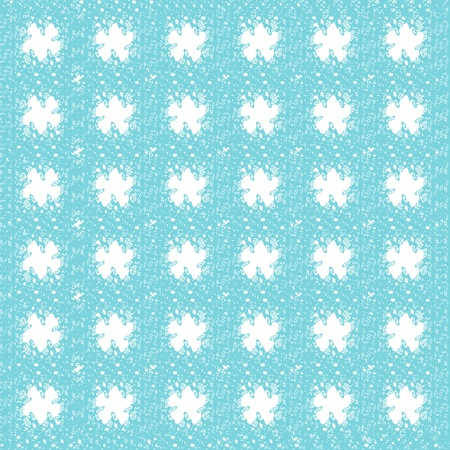 uniform curls: Abstract seamless cyan geometric curly patterns with white star shapes