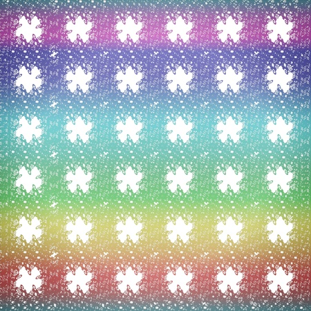 Abstract seamless multicolored geometric curly patterns with white star shapes photo