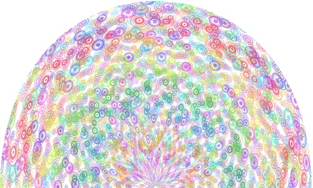 Sphere of multicolored circle patterns on white background photo