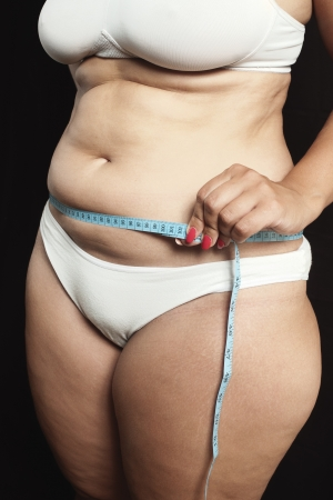 cellulite: Woman measuring waistline with centimeter on black Stock Photo